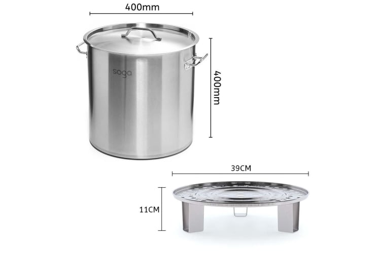 SOGA 40cm Stainless Steel Stock Pot with Two Steamer Rack Insert Stockpot Tray