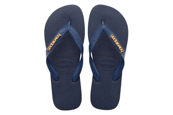 Havaianas Logo Metallic Thongs (Navy Blue, Brazil 37/38)
