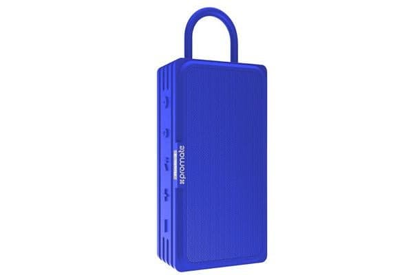 PROMATE Bluetooth v4.2 Water Resistanct IPX6 Speaker with true wireless stereo MicroSD Blue
