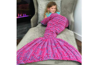Knitted Mermaid Tail Blanket Crochet Leg Wrap Kids Child Amethyst Purple 130X60Cm