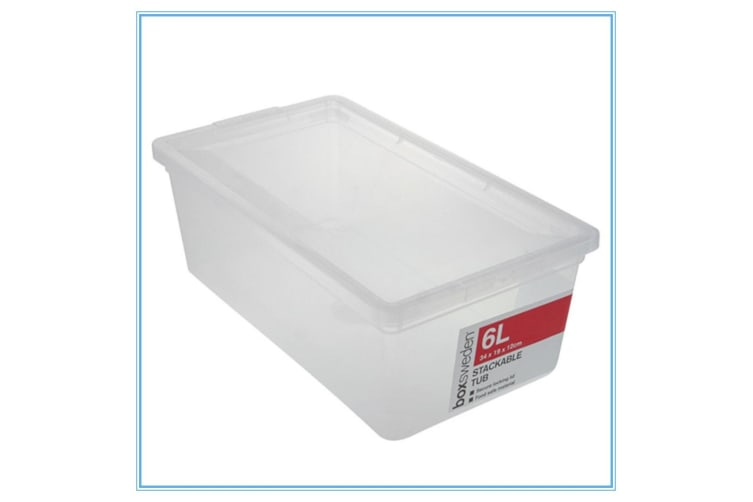 24 x Stack-able Plastic Storage Boxes 6L with Lid Storage Containers Tubs Bins Food Safe