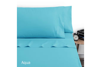 250TC Polyester Cotton Sheet Set Double Aqua by Artex