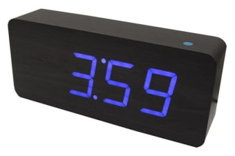 Blue Led Wood Grain Alarm Clock Temperature Display Mains Battery Black 6016