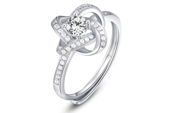 .925 Dazzling Love Knot Ring-Silver/Clear Adjustable Size