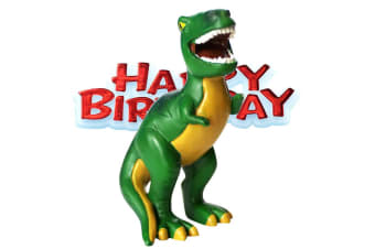 Creative Party Happy Birthday And Dinosaur Cake Topper (Multicoloured)