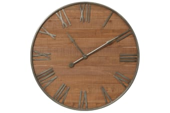 91.5cm Natural Potters Wall Clock Time Roman Numerals Analogue Home Decor