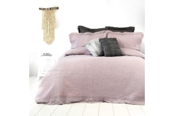 Flinders Washed Cotton Coverlet Set Queen Light Mauve by Ardor