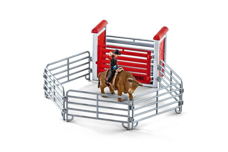 Schleich Farm World Bull Riding with Cowboy Figure