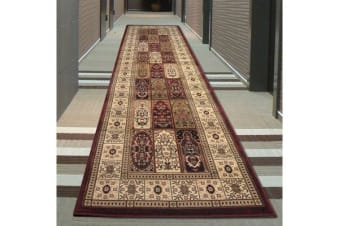 Traditional Panel Pattern Runner Rug Burgundy Ivory