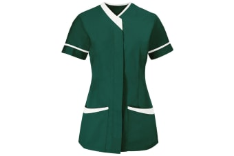 Alexandra Womens/Ladies Contrast Trim Medical/Healthcare Work Tunic (Bottle Green/White) (20)