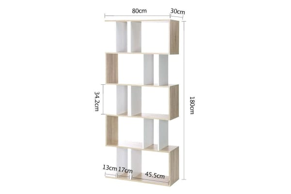 5 Tier Display Book Shelf Unit (White/Wood)