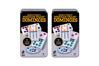 2x Cardinal Classic Double 12 Coloured Dots Dominoes w/Tin Case Family/Kids Game