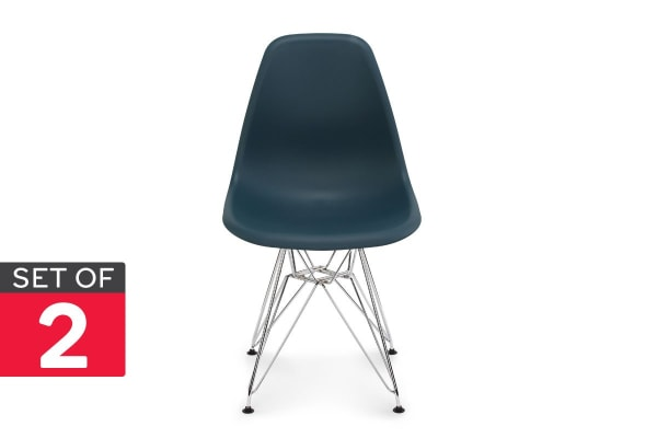 Shangri-La Set of 2 DSR Dining Chairs - Eames Replica (Teal/Chrome)