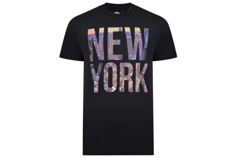 Kam Jeanswear Mens Tall Fit New York Block Print Tee (Navy) (4XLT)