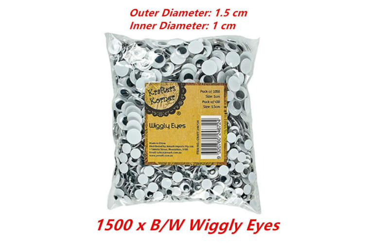 1500 x Wiggly Eyes White 1.5cm Googly Jiggly Craft DIY Decor Art Puppet Doll