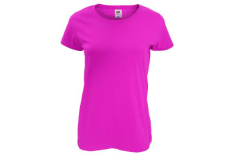 Fruit Of The Loom Womens/Ladies Short Sleeve Lady-Fit Original T-Shirt (Fuchsia) (2XL)