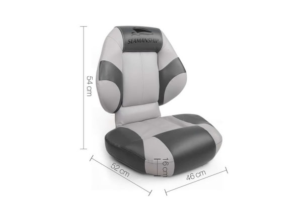 Set of 2 Folding Rotatable Boat Seats (Grey/Charcoal)