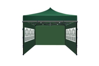 3x3m Party Pop Up Gazebo Marquee Canopy Folding Tent GREEN