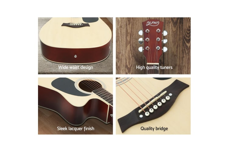 """41"""" Inch Electric Acoustic Guitar Wooden Classical EQ Capo Nature"""