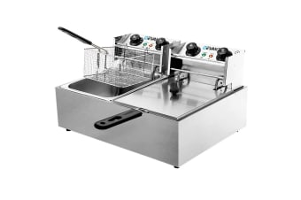 Electric Commercial Deep Fryer Twin Frying Basket Chip Cooker 5000W