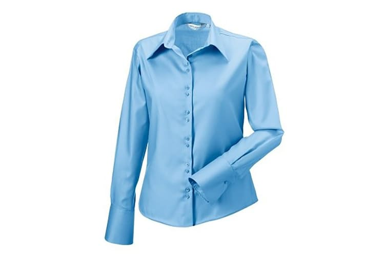 Russell Collection Ladies/Womens Long Sleeve Ultimate Non-Iron Shirt (Bright Sky) (S)
