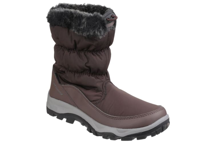 Cotswold Womens/Ladies Frost Pull On Fur Trim Winter Boots (Brown) (8 UK)