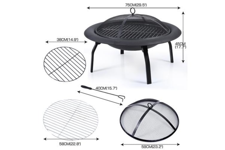 """30"""" Portable Outdoor Fire Pit BBQ Camping Garden Patio Heater Fireplace"""