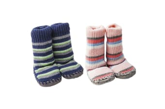 Playette Slipper Socks/Shoes/Boots 18-24M Navy/Pink Stripes for Boys/Girls/Baby