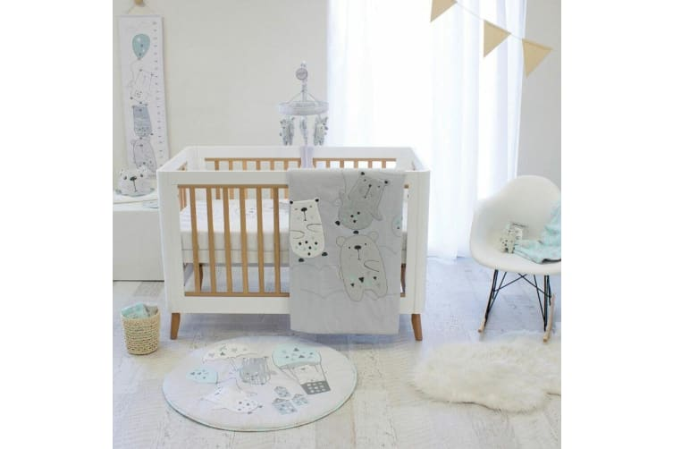 2pc Beary Happy Cot Breathable Soft Reversible Bumper Mesh Baby/Infant 0m+ Set
