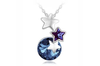 Wish Upon A Star Rose Necklace w/Swarovski Crystals-White Gold/Blue