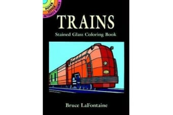 Trains Stained Glass Colouring Book