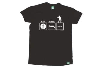 Out Of Bounds Golf Tee - Eat Sleep Golf - (Large Black Mens T Shirt)
