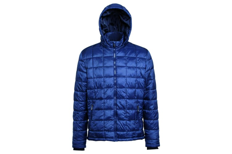2786 Mens Box Quilt Hooded Zip Up Jacket (Navy) (L)