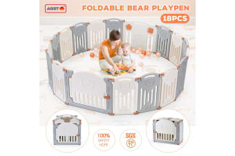 ABST 18 Panel Baby Safety Playpen Interactive Kids Play Center Room - Bear Style