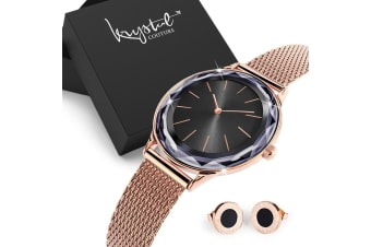 Gift Set Women's Geometic Mineral Glass Watch