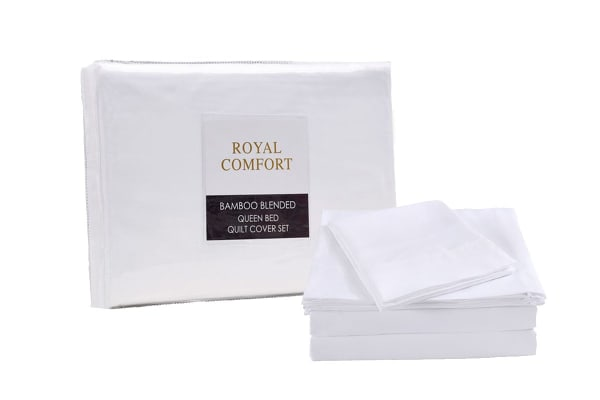 Royal Comfort Blended Bamboo Quilt Cover Set + Bamboo Pillow Twin Pack (Queen, White)