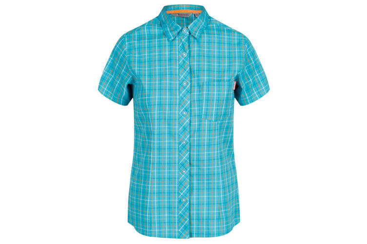 Regatta Womens/Ladies Honshu III Short Sleeve Check Shirt (Ceramic Blue) (18 UK)