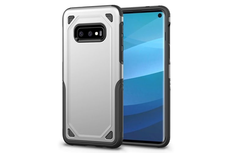 For Samsung Galaxy S10e Case  Silver Shockproof Armour Hard Back Phone Cover