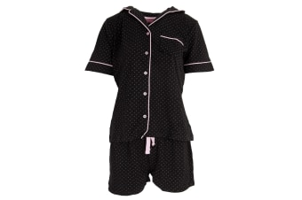 Foxbury Ladies/Womens Button Through Pyjama Set (Black)