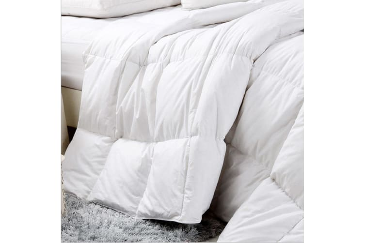 Royal Comfort Goose Feather And Down Quilt + Twin Pack 1000GSM Goose Pillows - Single - White