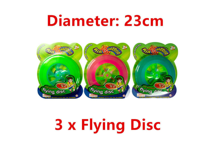 3 x Air Warrior Flying Disc Frisbee 23CM Sports Swimming Pool Beach Game Outdoor