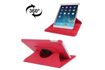 For iPad 2018 2017 9.7in Case Rotatable Lychee Leather Shielding Cover Red