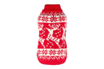 Hip Doggie Feathersoft Christmas Reindeer Dog Jumper (Red/White)
