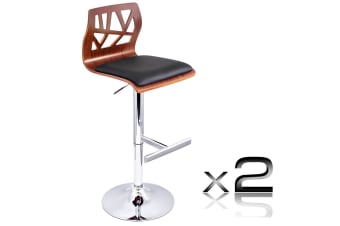 Set of 2 PU Leather Wooden Kitchen Bar Stool Padded Seat (Black)