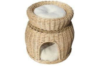 Vital Pet Products Two Tier Cat Basket With Cushions (Oak)