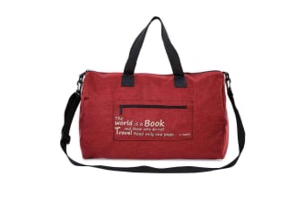Canvas Duffle Bag Duffel Shoulder Sport Gym School Mens Women Travel With Pouch-Red