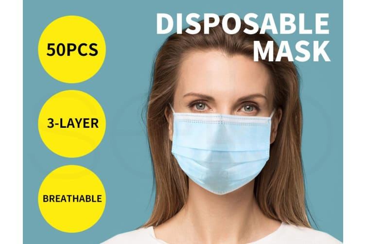 50x Disposable Mask Face Masks Filter Anti PM2.5 Dust Respirator 3 Layers