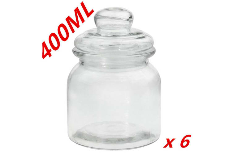6 x Clear 400ml Glass Jars Multi-purpose Storage Jar Glass Lid Candle Candy Wedding