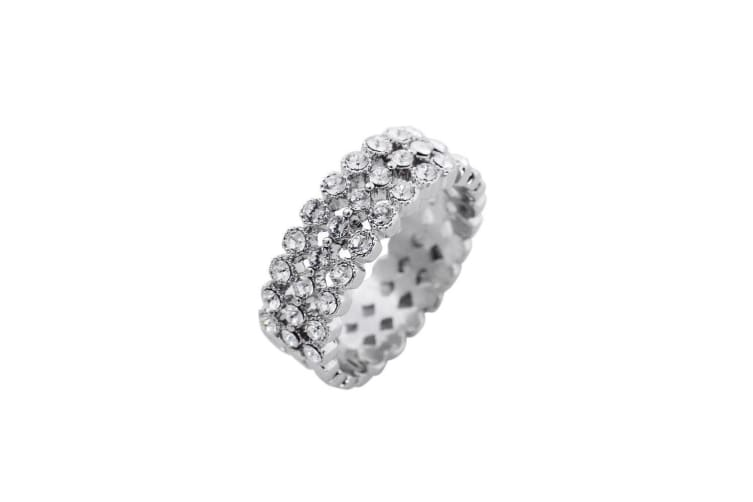 Fable Womens/Ladies Diamante Band Ring (Silver) (17mm)