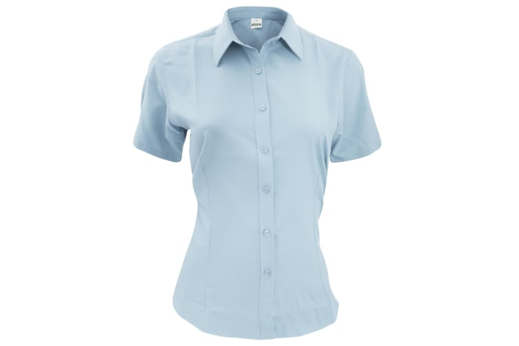 Henbury Womens/Ladies Wicking Short Sleeve Work Shirt (Light Blue) (2XL)